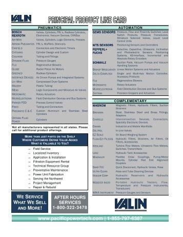 product line card - Pacific PowerTech, LLC