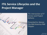 ITIL Service Lifecycles and the Project Manager - PMI KC Mid ...