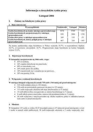 Informacja o cieszyńskim rynku pracy Listopad 2004 - Powiatowy ...