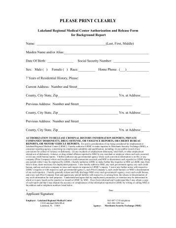 Background Release Form - Lakeland Regional Medical Center