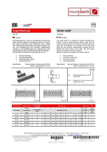 Zugentlastung Strain relief - Murrplastik Systemtechnik