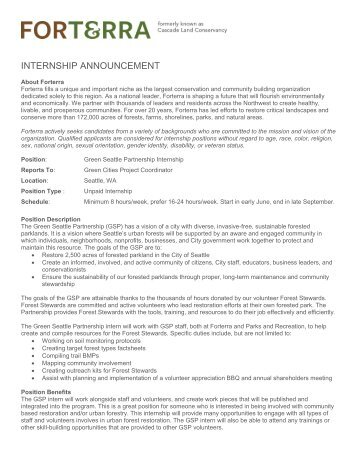 INTERNSHIP ANNOUNCEMENT