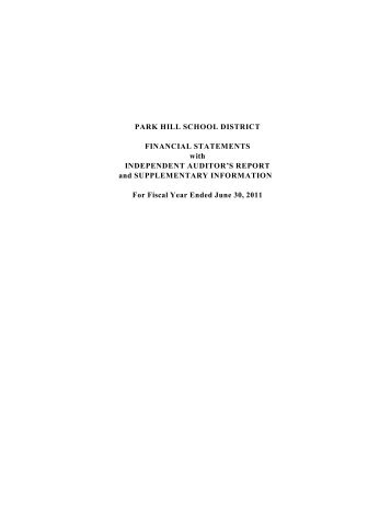 PARK HILL SCHOOL DISTRICT FINANCIAL STATEMENTS with ...