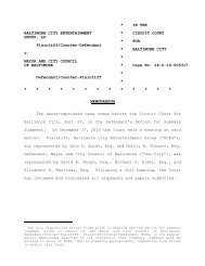 Order - the Circuit Court for Baltimore City