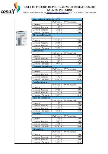 lista de precios de programas informaticos 2011 iva no ... - Conaif