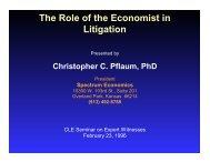 The Role of the Economist in Litigation - Spectrum Economics