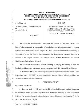 Page 1 of 7 – CONSENT ORDER 1 2 3 4 5 6 7 8 9 ... - State of Oregon