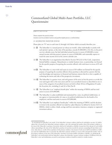 Commonfund Global Multi-Asset Portfolio, LLC Questionnaire