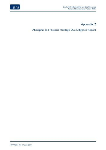 Appendix 2, Aboriginal and Historic Heritage Due Diligence ... - Santos