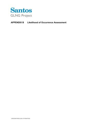 Appendix B Likelihood of Occurrence Assessment (132 KB) - Santos
