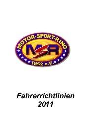Fahrerrichtlinien 2011 - Motor Sport Ring