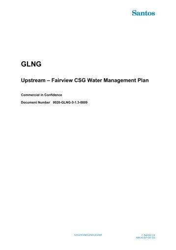 Appendix B Fairview Project Area Coal Seam Gas Water ... - Santos