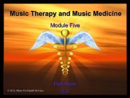Music Therapy and Music Medicine - Music for Health Services