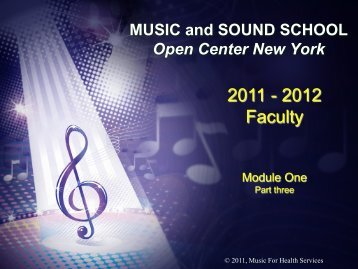 MUSIC and SOUND SCHOOL Open Center New York - Music for ...