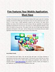 Five Features Your Mobile Application Must Have