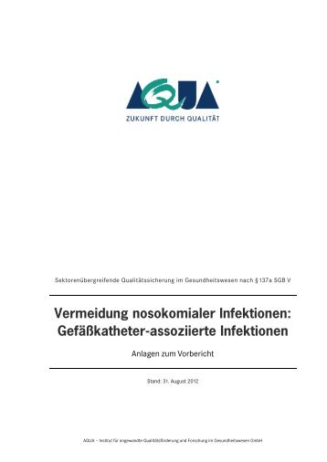 Vermeidung nosokomialer Infektionen: Gefäßkatheter ... - VPKBB