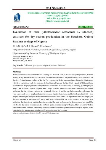 Evaluation of okra (Abelmoschus esculentus L. Moench) cultivars for dry season production in the Southern Guinea Savanna ecology of Nigeria