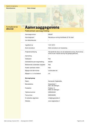 Bijlage 1 Aanvraag omgevingsvergunning