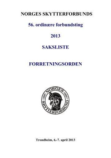 Sakliste, forretningsorden etc - Norges Skytterforbund