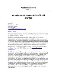 Academic Answers Adds Scott Canter - Troubled Teen Help