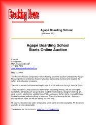 Agapé Boarding School Starts Online Auction - Troubled Teen Help