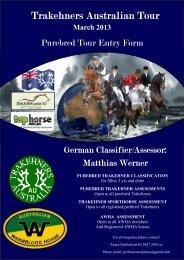 Purebred TrakehnerTour Entry Form - Trakehners Australia Inc.