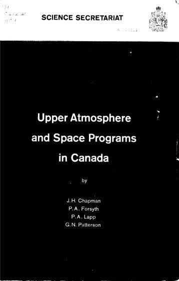 Upper Atmosphere and Space Programs in Canada - ArtSites