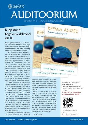 Auditoorium - november 2012 - Tartu Ülikooli Kirjastus