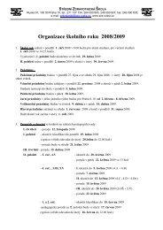 Organizace školního roku 2008/2009 - Střední Zdravotnická Škola ...