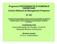 Programul PARTENERIATE IN DOMENIILE PRIORITARE Centrul ...