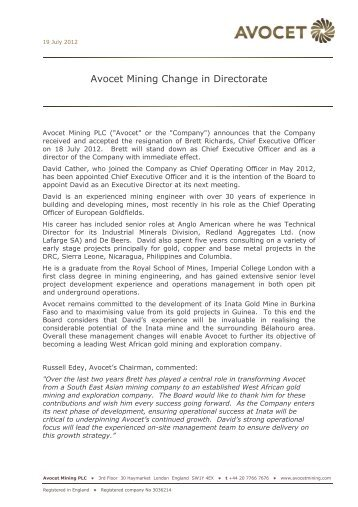 Avocet Mining Change in Directorate - Avocet Mining PLC