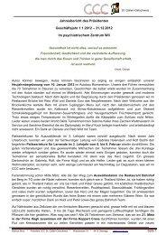 Jahresbericht des Präsidenten 2012 - Cercle des Chefs de Cuisine ...
