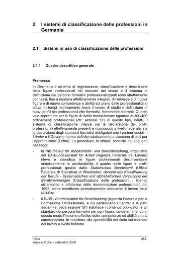 I sistemi di classificazioni delle professioni in Germania - Indire