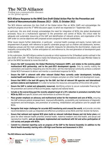 NCD Alliance Submission to Zero Draft on Global Action Plan