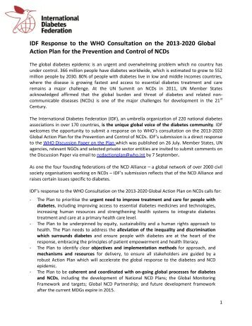 IDF Response to WHO Consultation on Global NCD ... - NCD Alliance