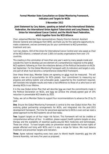 Formal Member State Consultation on Global ... - NCD Alliance