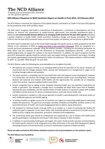 NCDA Response to WHO Synthesis Report on ... - NCD Alliance