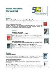 Noten Neuheiten Herbst 2012 - Musik Gillhaus