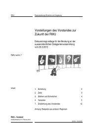 Vorstellungen des Vorstandes zur Zukunft der RWU