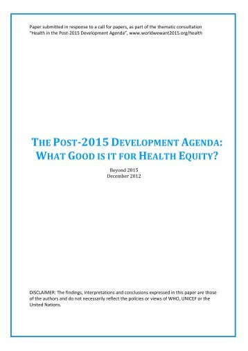 the post-2015 development agenda: what good is it for health equity?