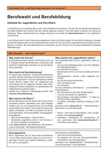 Berufswahl und Berufsbildung - Infoblatt für Jugendliche ... - kkf oca