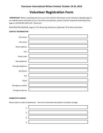 Volunteer Registration Form - Vancouver International Writers Festival