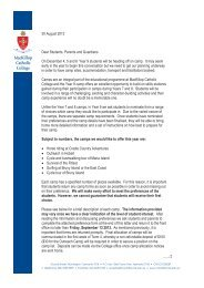 Year 9 camp letter to parents 2013 - MacKillop Catholic College