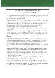 Kurzbeschreibung Manuelle Therapie inklusive KGG-Zertifikat - FOMT