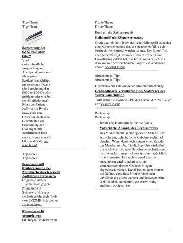 Top-Thema Top-Thema Berechnung der GOZ 0030 oder ... - Spitta