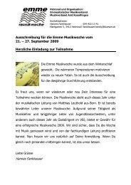 Ausschreibung für die Emme Musikwoche vom 21. – 27. September ...