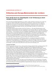 Kritisches zum Europa-Memorandum der «Linken» - PdA Bern