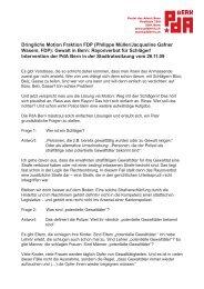 Dringliche Motion Fraktion FDP (Philippe Müller/Jacqueline Gafner ...