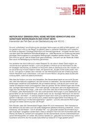 MOTION ROLF ZBINDEN (PDA): KEINE WEITERE ... - PdA Bern