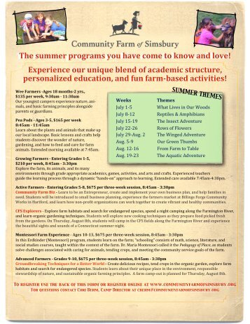 Community Farm of Simsbury - Summer Camps - Granby Public ...